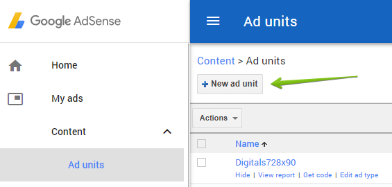 How to create a new Google AdSense Ad unit