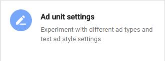 ad unit settings